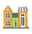 three small houses close to each other in green vector image vector image