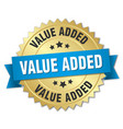 value added 3d gold badge with blue ribbon vector image vector image