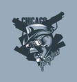 vintage skull in the style of 30 years chicago vector image vector image
