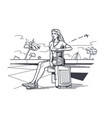 woman traveler with baggage sitting on bench vector image
