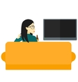 Woman watching TV vector image