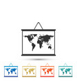 World map on a school blackboard icon isolated