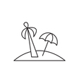 Island with palm icon outline vector image