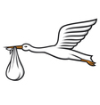 stork carrying a baby in its beak vector image