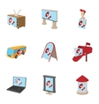 Advertising goods icons set cartoon style vector image vector image