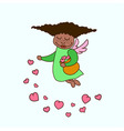 african american little angel with hearts vector image vector image