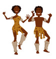 african tribe man and woman in animal skin and fur vector image vector image