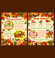 autumn season celebration poster template set vector image vector image