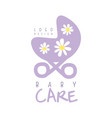baby care logo design emblem with purple baby vector image vector image