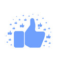 big blue hand showing thumb up pattern on white vector image vector image