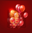 big sale concept flying red balloons on red vector image