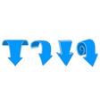 blue arrows down signs colored hand drawn sketch vector image vector image
