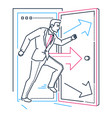 businessman rushing through the door - line design vector image