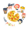 cartoon hungry children eating pizza on a white vector image