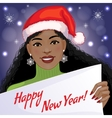 Cute African American girl with New Year greetings vector image