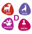 cute alphabet in d letter for dog deer vector image vector image