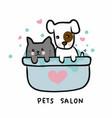 dog and cat in shower bathtub pets salon cartoon vector image vector image