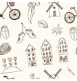 Doodle hand drawn seamless pattern Holland icons vector image vector image