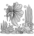 fighting fish coloring page vector image vector image