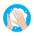 hand washing with soap virus protection icon vector image