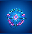 happy new year blue pink neon sign vector image vector image