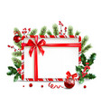 holiday frame and ball vector image vector image
