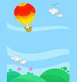 hot air balloon summer sky background vector image vector image
