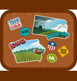 iowa and kansas travel stickers vector image vector image
