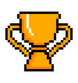 isolated pixelated golden trophy icon vector image vector image