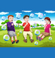 kids blowing bubbles vector image