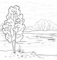 landscape forest river outline vector image vector image