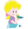 little girl and her budgerigar vector image vector image