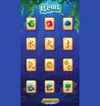 mahjong fish world - item set fire water earth vector image vector image