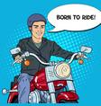 pop art man biker riding a chopper vector image vector image
