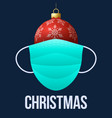 realistic red christmas ball with medical vector image vector image