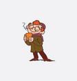 red hair boy enjoying a hot drink vector image