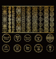 round gold borders and golden frames set vector image