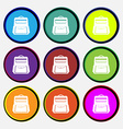 School Backpack icon sign Nine multi colored round vector image vector image