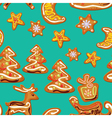 seamless christmas pattern - xmas gingerbread on b vector image