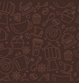 seamless pattern for coffee theme line art draw vector image vector image