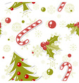 Seamless pattern with cute cartoon christmas tree vector | Price: 1 Credit (USD $1)