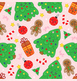 seamless pattern with cute christmas tree vector image vector image
