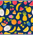 Seamless pattern with hand drawn cartoon fruit