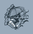 skull in a cap singing into microphone tattoo vector image vector image