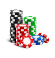 stack realistic empty chips for casino vector image vector image