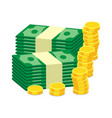 stacks of gold coins and dollar cash in flat vector image vector image