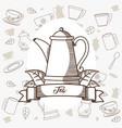 tea porcelain kettle with ribbon banner vector image vector image