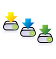 three download icons vector image vector image