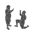 trainer helps a boy with down syndrome special vector image