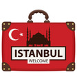travel bag with turkish flag and the hagia sophia vector image vector image